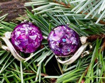 1960's Coro Purple Confetti Gold Tone Clip Earrings - Clear Rhinestone Accents
