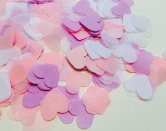 Lilac, pink and white heart wedding confetti - biodegradable
