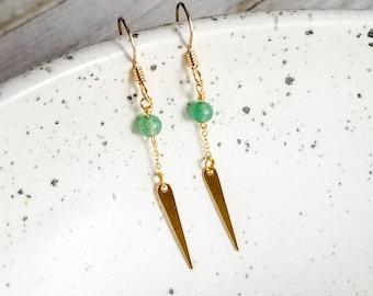 Aventurine Earrings, 14k Gold Earrings, Gold Dangle Earrings, Bohemian Earrings, Geometric Dangle Earrings, Spike Earrings, Gift For Her