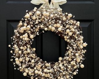 Everyday Wreath -  Berry Wreath - All Season Wreath - Choose Bow and Size