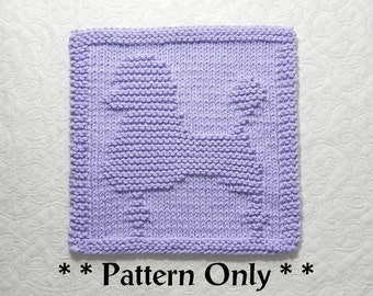 POODLE Dog Knit Dishcloth Pattern, Dog Lovers Gift Idea, Knit Wash Cloth Pattern, Easy Knitting Pattern for Beginners, Design by Aunt Susan