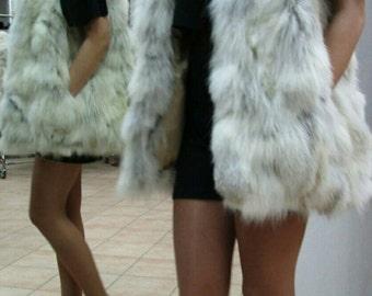 NEW!!! Natural,Real Fox Fur Vest!!!