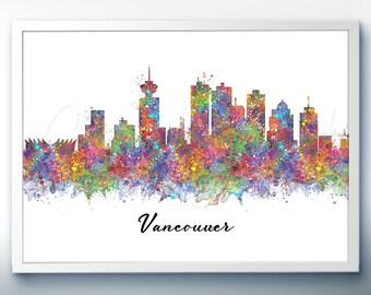 Vancouver Skyline Watercolor Art Poster Print - Wall Decor - Watercolor Painting - Illustration -Home Decor-Office Decor - Kitchen Decor