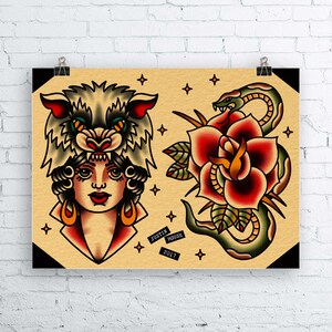 Genial Traditional Wolf Headdress Lady And Snake Tattoo Flash Sheet  Traditional  Tattoo Flash, Tattoos,