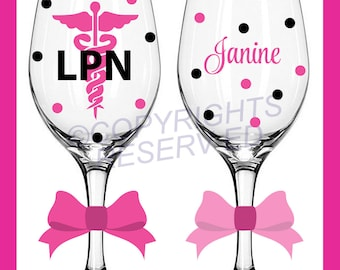 Personalized NURSING Tall Wine Glasses for RN LPN or BsN w/ Caduceus & Name Nurse Nursing Student Gift Polka Dots