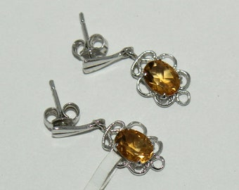 925 Solid Silver Earrings Of Natural Citrine, 925 Sterling Silver Earring, Fine Silver Yellow Citrine Faceted Gemstone Earring for women