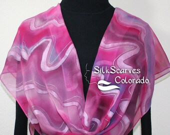 Silk Scarf Pink ,Fuchsia, Lavender Hand Painted Chiffon Silk Shawl PINK STREAMS. Large 14x72. Silk Scarves Colorado. Birthday Gift.