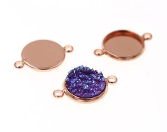 10pcs of 12mm Rose Gold Charm Drop Pendant Round Tray Connectors Bezel Blanks, Made with Brass