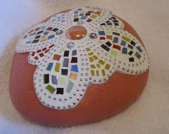 Orange Mosaic Garden Rock - Paperweight
