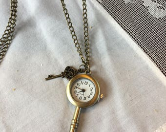 Vintage Look Watch shaped like a Key Necklace Pendant on a Chain