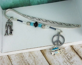"""Bookmark """"for hippies """" silver / retro look / hippie style / camping / gift for reader / gift for her / gift for him"""