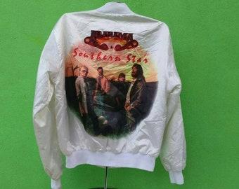 Vintage Alabama Southern Star Satyn Jacket Rare All Over Print  80s Rock Band Southern Rock Band Large