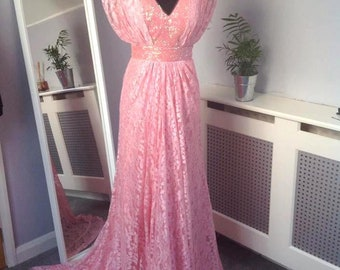 Pink Lace and Beaded Embellishment Dress with Train Uk 10