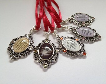 Small Vintage Silver Rhinestone Personalised Photo Bouquet Memory Charm