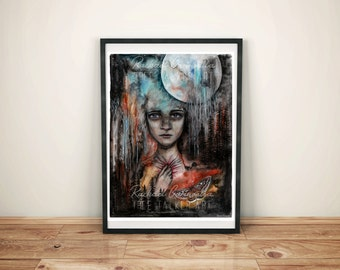 Mixed Media Portrait - Giclee Fine Art Print - Surreal Portrait - Full Moon Drawing - Artist Rachael Caringella