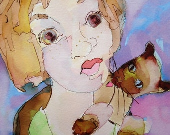 Siamese Cat on Her Shoulder original watercolor painting