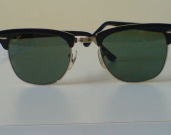 Vintage Ray-Ban W0365 B & L Black Clubmaster Sunglasses Excellent Cond.