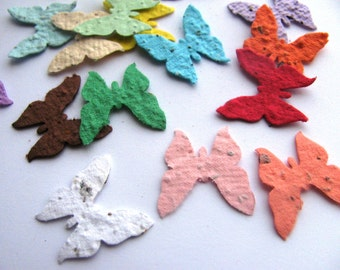 50 Plantable confetti BUTTERFLIES- choose from 16 colors- Wildflower blend