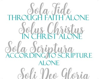 5 Solas (Reformation 500) Mounted Wall Art -- Home/Office Decor, Family/Friend Gift