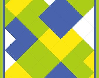 Modern, full bed quilt PDF pattern - Interlocking Bricks