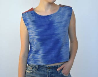 fade to blue -- vintage 90's ikat cotton tank top size S