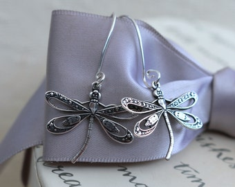 Silver Dragonfly ornately detailed earrings with Sterling earwires