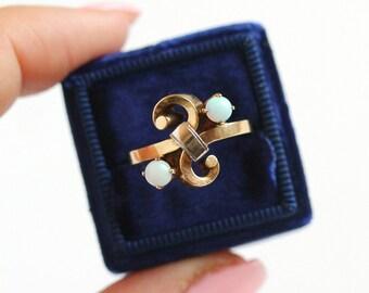 Sale - Vintage Opal Ring - Retro Era 1940s Size 7 1/4 Toi Et Moi 10k Rosy Yellow & White Gold - Cabochon Gem Fine Statement Two Tone Jewelry