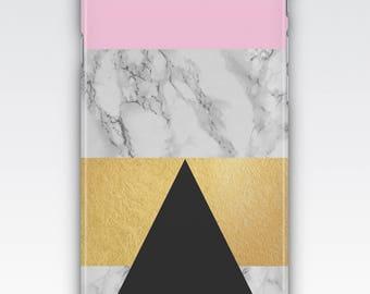 Case for iPhone 8, iPhone 6s,  iPhone 6 Plus,  iPhone 5s, iPhone SE, iPhone 5c, iPhone 7 - Pink, Black, Gold & Marble Geometric Design Case
