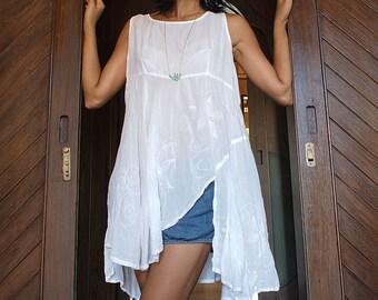 Tunic sleeveless hand embroidery M,L,XL,XXL,XXXL D 108