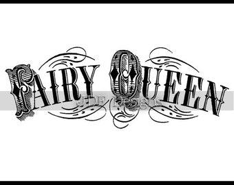 Instant Digital Download, Vintage Victorian Graphic, Fairy Queen Antique Text Lettering, Printable Image, Scrapbook, Typography, Banner