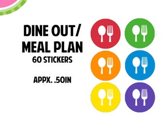 Dine Out/Meal Plan Icon Stickers | 60 Kiss Cut Stickers | IC056