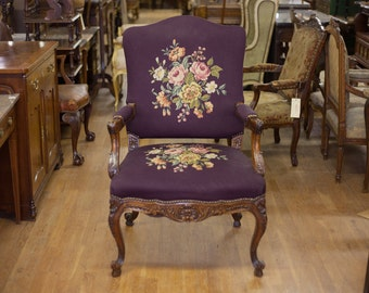 Antique French Purple Walnut Begere Needlework Arm Chair