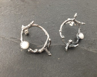 Sterling silver twig style earrings with 5m opals, hallmarked in Edinburgh