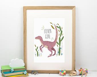 Clever Girl - Jurassic Park Print - Velociraptor - Cactus - Dinosaur Print - Gift for Dinosaur lover - Gift for girlfriend