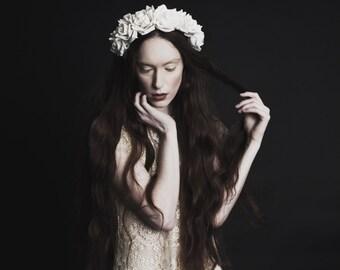 Cream velvet flower crown, flower garland, Lana Del Ray, wedding headpiece, nature inspired, vintage inspired, rustic rose, love.