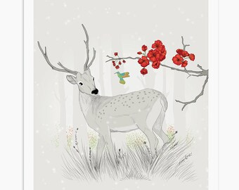 Gray Deer Poster, Animal Print, Baby Boy Nursery Art, Nursery Wall Decor, Home Decor, Woodland Wall Art, Deer Print, Baby Nursery Decor