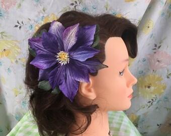 PinUp Tropical Hair Flower Clip, Retro Hair Accessory, Tiki, Purple, 1940's, 1950's, Vintage Hair, Hawaii, Dapper Day, Spring, Summer