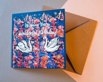 Wishing You a Happy Birthday Greeting Card - For All - Stationery - Unique - Illustrated Greeting Card
