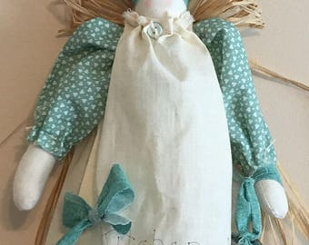 Hand Sewn Blessings Kitchen Angel Green Hearts