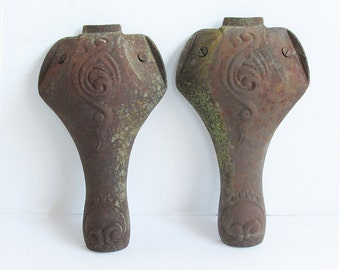 Two Old Cast Iron Wood Stove Legs - Nicely Distressed with Unique Patina