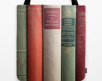 Graduation Gift, Books Tote Bag, Book Bag, Book Tote, Library Tote, Old Books Tote, Poetry Book Bag, Faulkner, Longfellow, Antique Book Bag,