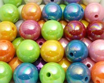 20mm Pearlized Chunky Bubblegum Beads - 10pcs - Candy Color Gumball Beads, Chunky Beads, Round Acrylic Beads - BR2-3