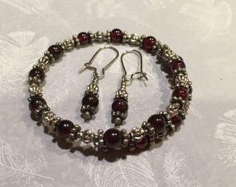 Garnet and Tibetan Silver Beaded Bracelet and Earring Set,  Perfect Gift, Birthdays, Easter, Mother's Day, BFF
