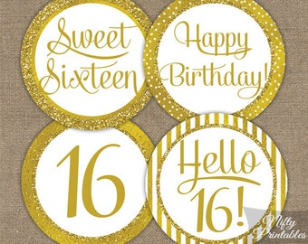 Sweet 16 Birthday Cupcake Toppers Sweet Sixteen Birthday