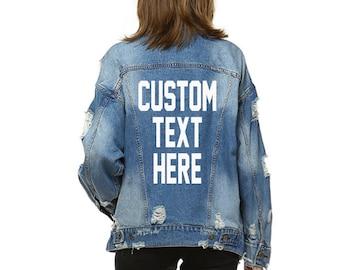 Custom Text Long Oversized Denim Jacket Mid Wash Vintage