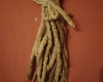 Blonde brown wool dreads 18 DE