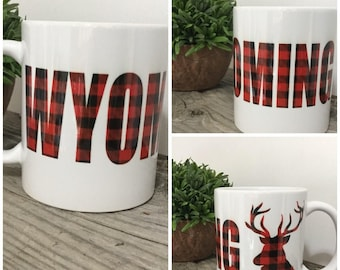 Buffalo Plaid Mug- Deer Mug - Wyoming Mug - Mugs with Saying - Plaid Deer Mug - Custom State Mug - Mug Gift - Gift for Dad - Stocking Gift