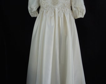 Ivory Beaded Christening Gown made using Upcycled 1980/90's Wedding Gown