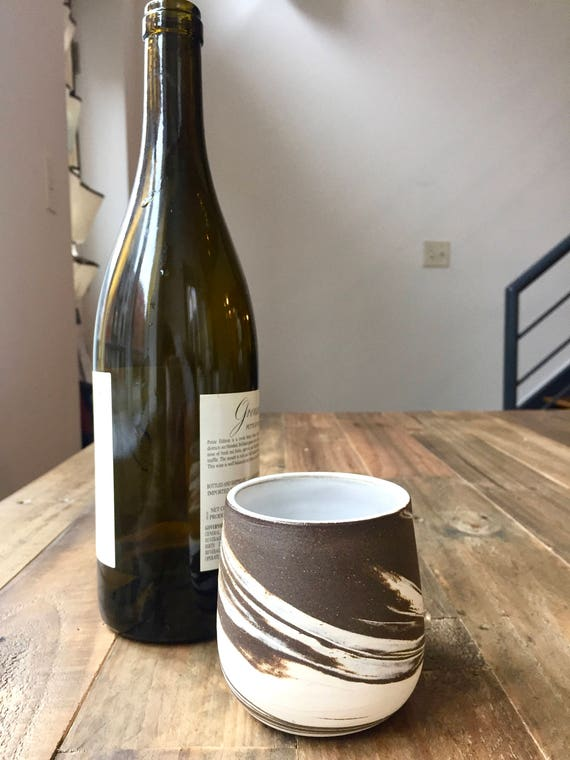 Ceramic stemless wine glasses- marble clay- brown and white- functional cup