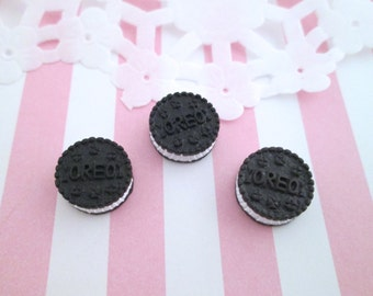 "Small Chocolate ""Oreo"" Cookie Kawaii Cabochons Decoden Sweets Miniature Cookies,  #134a"